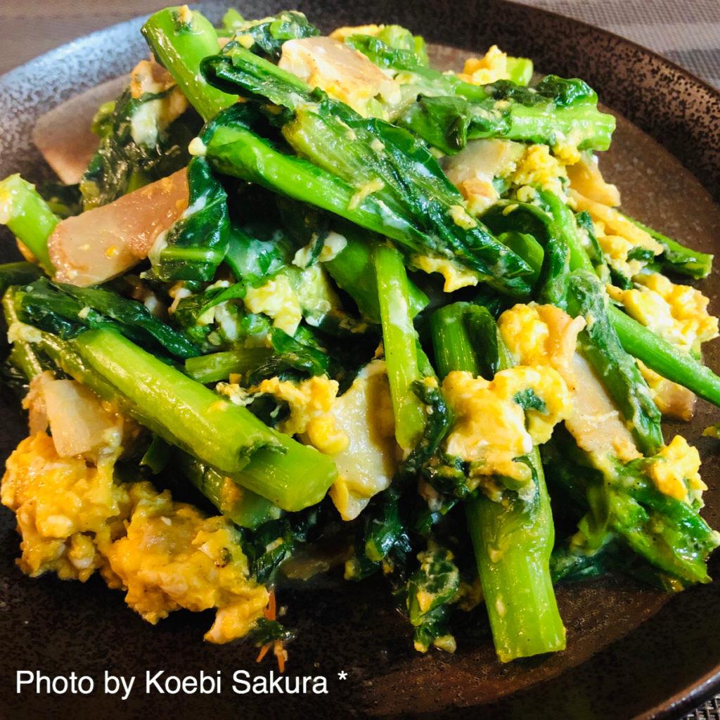 菜の花の卵とじアップ